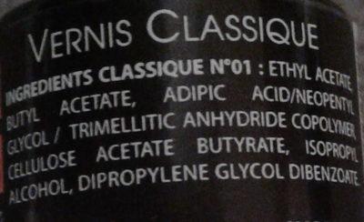 Vernis classique - Ingrédients