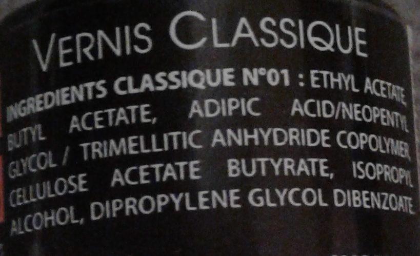 Vernis classique - Ingredients - fr
