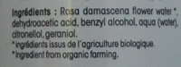 Eau florale Rose biologique - Ingredients