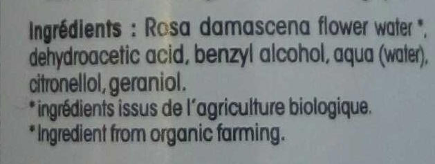 Eau florale Rose biologique - Ingredients - fr