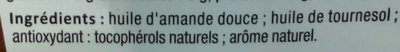 Huile 100% naturelle Amande Douce - Ingredients