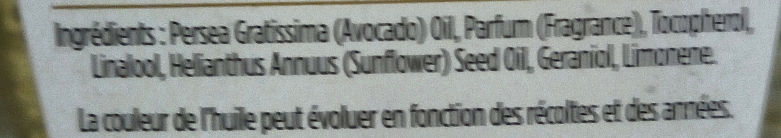 Huile 100% naturelle Avocat - Ingredients