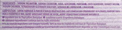 Savon de beauté lavande au lait d'ânesse bio - Ingredients