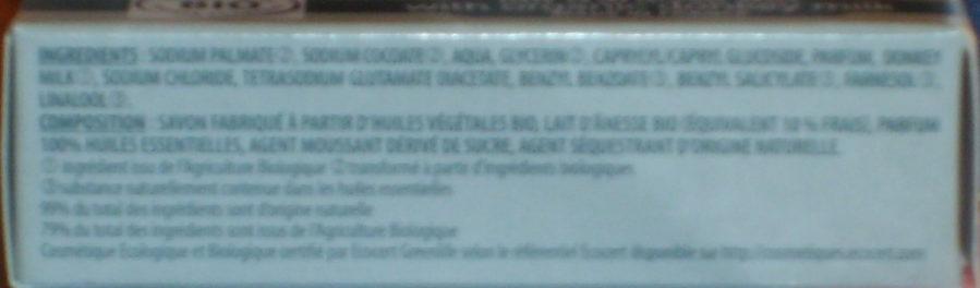 Savon de beauté Patchouli Ylang-ylang Lait d'ânesse bio - Ingredients - fr