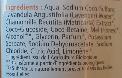 Shampooing & douche miel bio - Ingredients - fr
