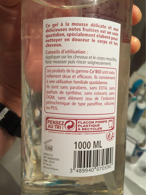 Shampooing Douche Fruits D'été Bio - 1L - Ce'Bio - Product - fr