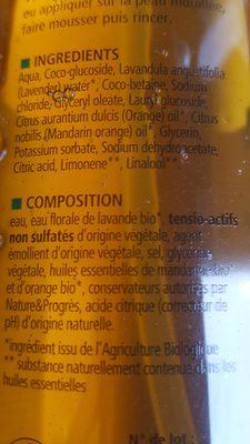 Bain Et Douche Mandarine Orange Bio - 1 L - Cosmo Naturel - Ingrédients