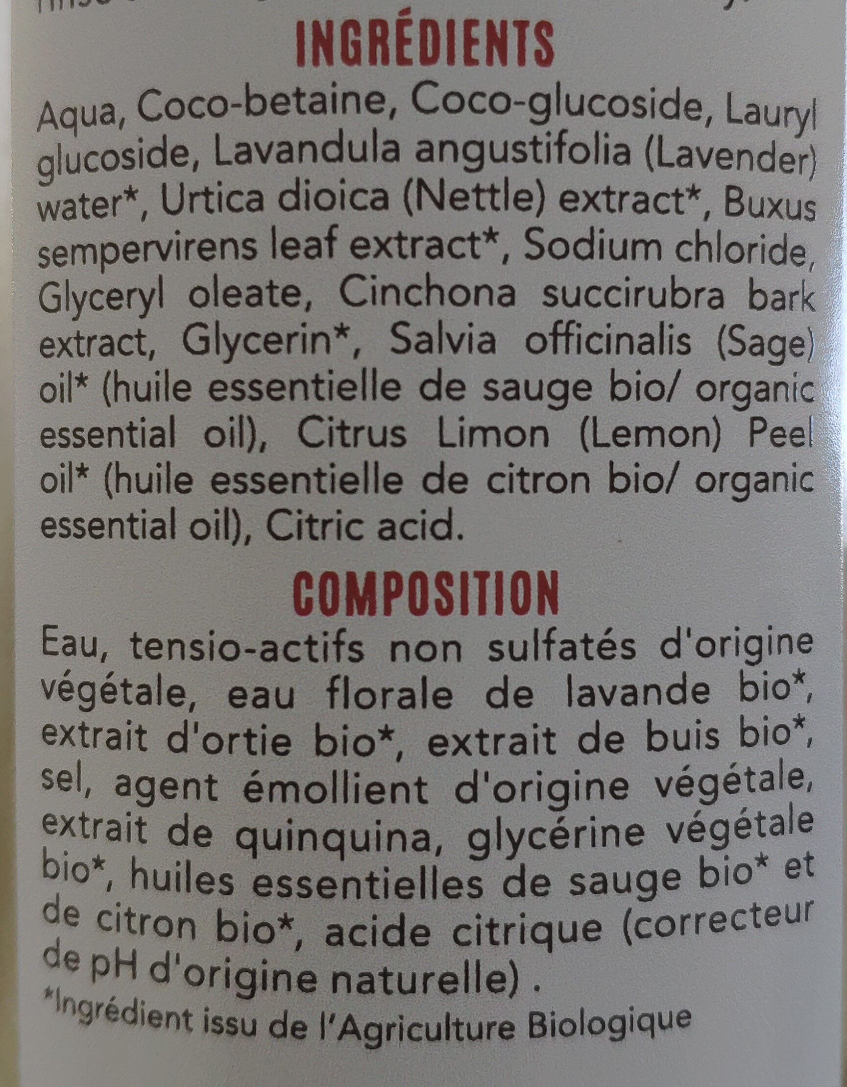 Shampoing Fortifiant - Ingredients - fr