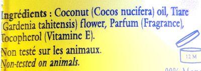 Huile parfumée Tiaré - Ingredients