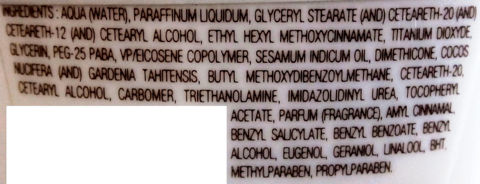 Lait protecteur hydratant au Monoï de Tahiti SPF 30 - Ingredients