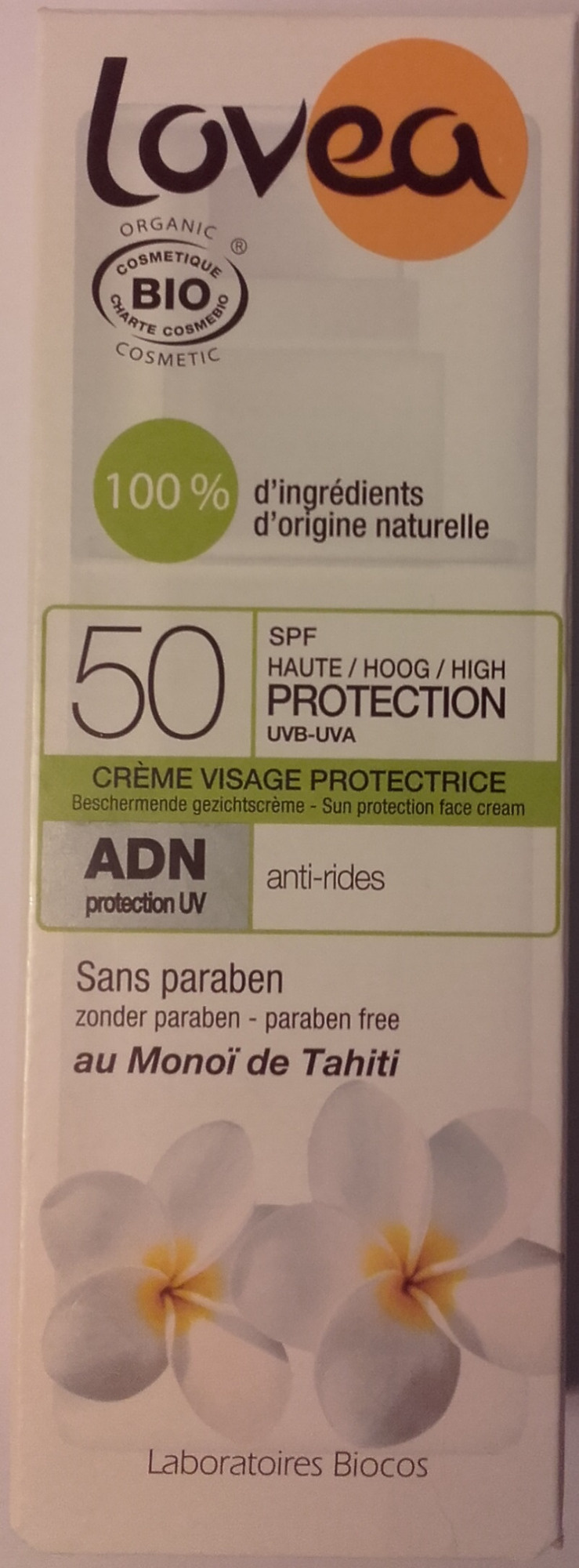 Crème visage protectrice SPF 50 anti-rides au Monoï de Tahiti - Product - fr