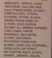 Crème visage protectrice SPF 50 anti-rides au Monoï de Tahiti - Ingrédients