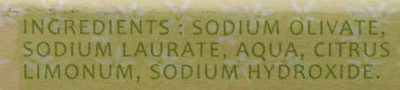 Savon d'Alep à l'huile d'olive et de laurier parfum citron - Ingredients - fr