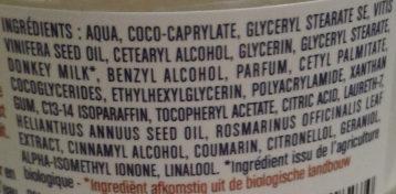 Alissa : crème jour au lait d'ânesse bio parfum Mystère du Nil - Ingrédients
