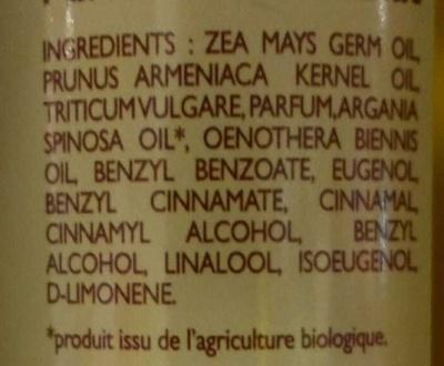 Huile de massage parfum Chocolat - Ingredients - fr