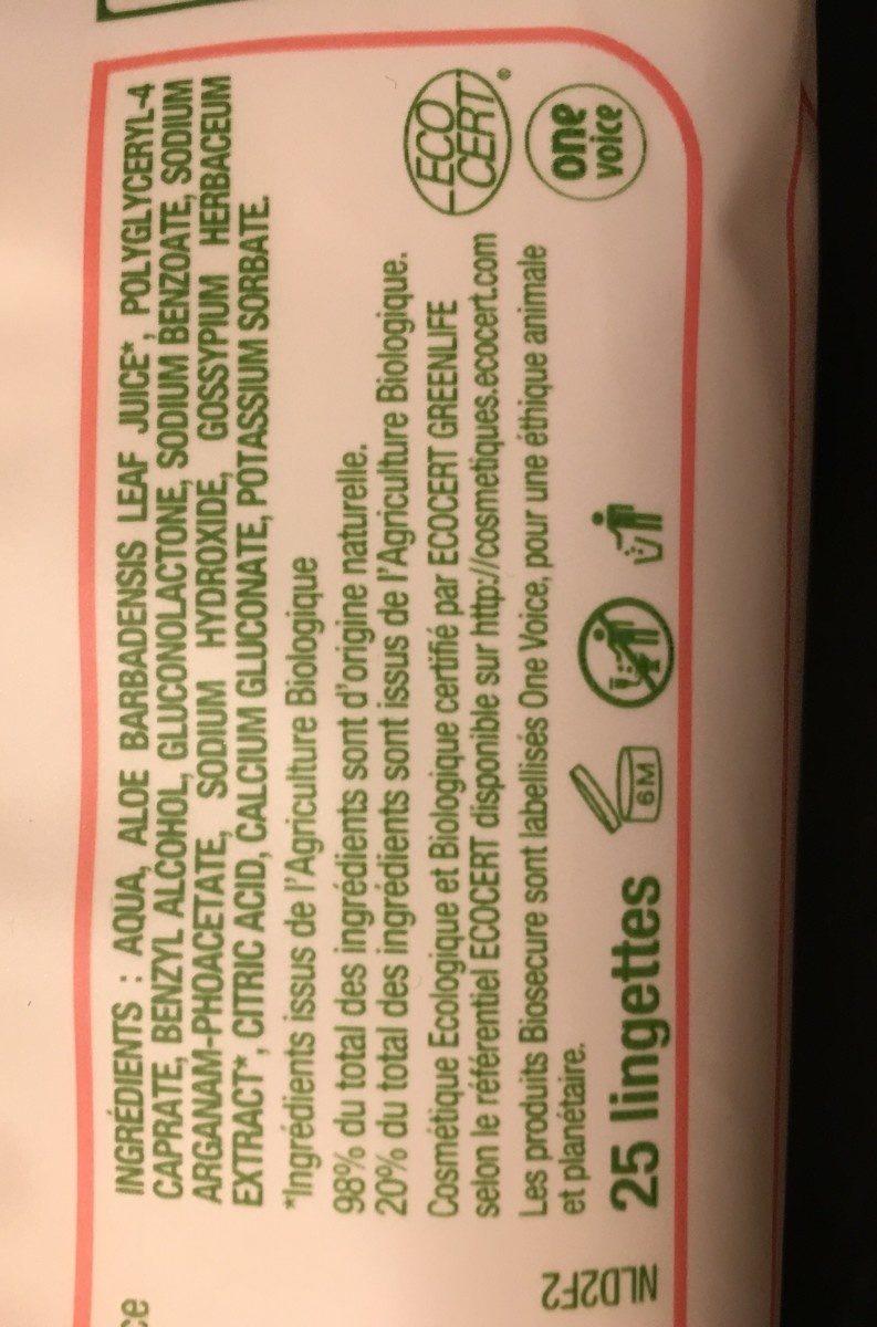 Bio Secure Lingettes Démaquillantes X25 - Ingredients - fr