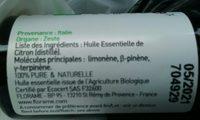 Huile Essentielle - Menthe Poivrée Bio - 10ML - Florame - Ingredients