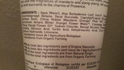 Petite douches de Provence aux huiles essentielles bio - Ingrédients