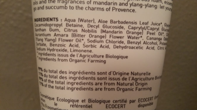 Petite douches de Provence aux huiles essentielles bio - Ingredients