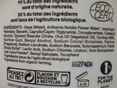 Lait démaquillant soyeux - Mon lait d'Ânesse - So'Bio étic - Ingrédients