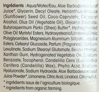 Hydra Aloe Vera Crème riche hydratante - Ingredients