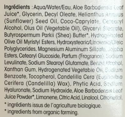 Hydra Aloe Vera Crème riche hydratante - Ingredients
