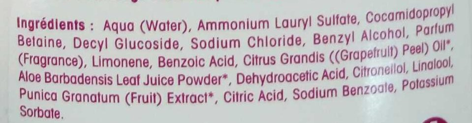 Gel douche grenade - Ingredients