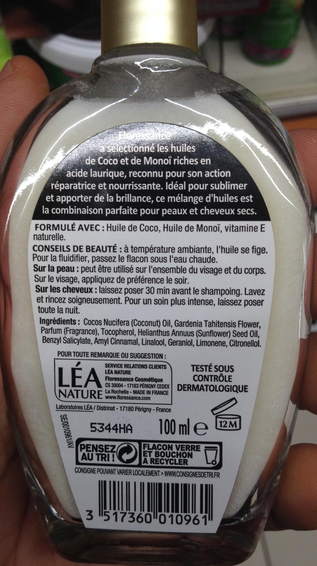 Huiles Coco et monoï 100% naturelle - Product - fr