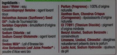 Douche crème lait d'ânesse - Ingredients - fr