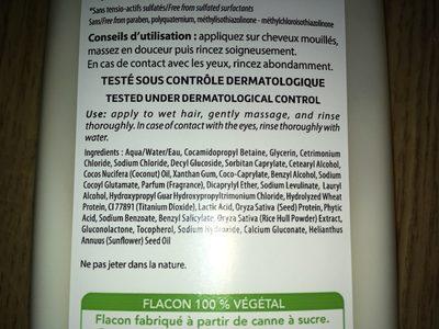 Shampoing coco & Keratine vegetale - Ingrédients