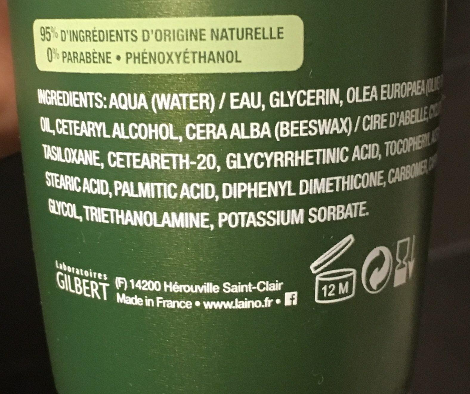 Laino Lait Nutritif Intense Peaux Extra Sèches Flacon Pompe De - Ingredients - fr