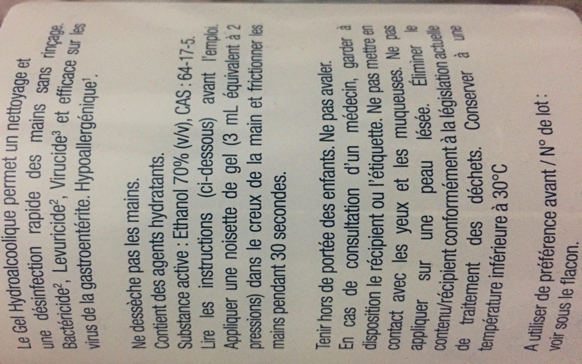 Bactidose Gel Hydroalcolique Hygiène Mains 1 Litre - Ingrédients - fr