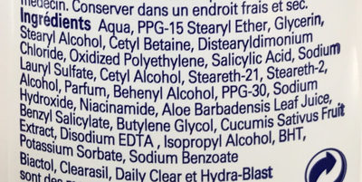 Clearasil Daily Clear Complet 3 en 1 Hydra-Blast - Ingredients - fr
