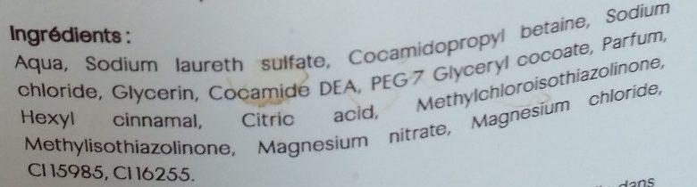 Savon liquide parfum pêche - Ingredients
