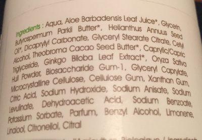 Lait Corps Hydratant Pour Toute La Famille Bio Ginkgo Biloba - - Centifolia - Ingrédients