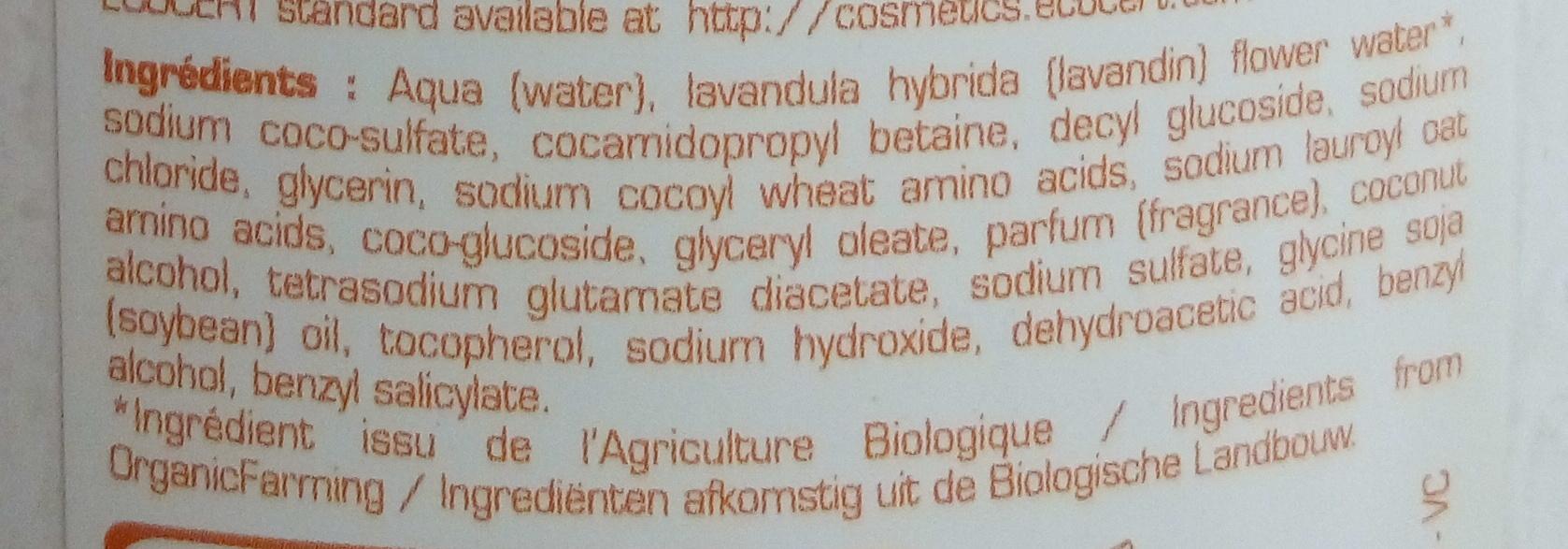 Shampooing douche ultra doux sans savon aux céréales - Ingrédients