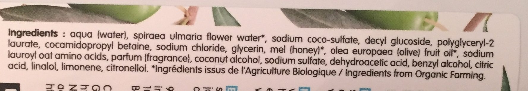 Gel Douche Protecteur à L'Olive - 1L - Coslys - Ingredients