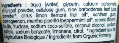 Dentifrice charbon végétal - Ingredients