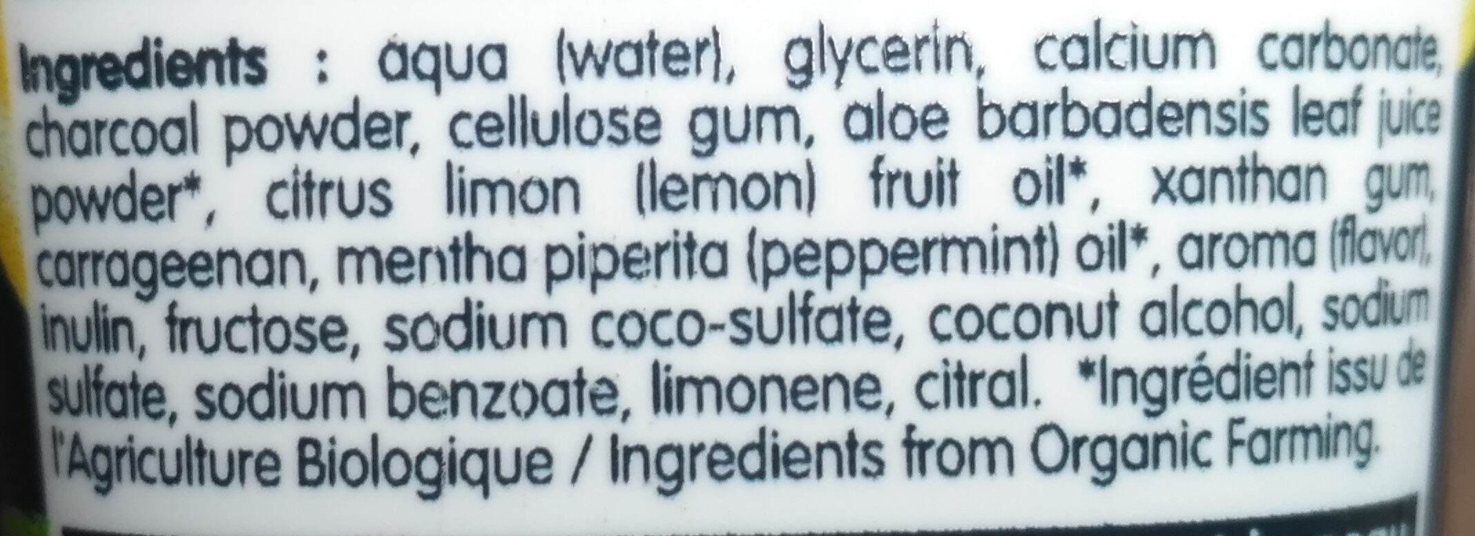 Dentifrice charbon végétal - Ingredients - en