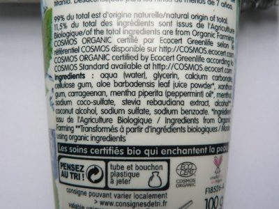 Dentifrice Fraîcheur Menthol Coslys - Ingredients