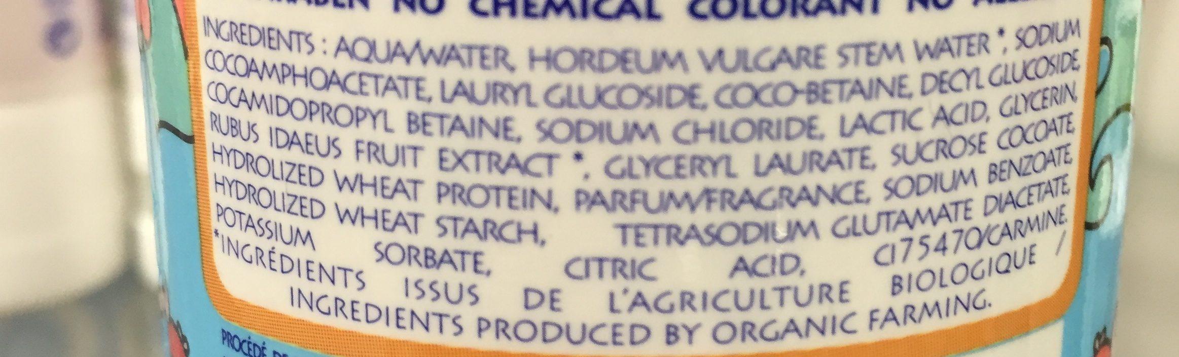 Planet Kid - Shampoing Framboise Démêlage Bio - Ingredients - fr