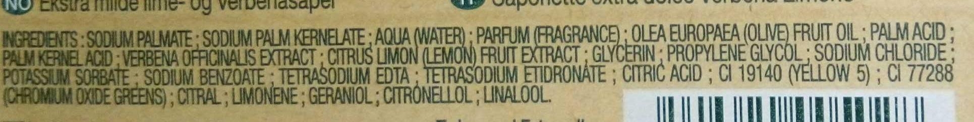 Savonnettes extra douces Verveine Citron - Ingrédients