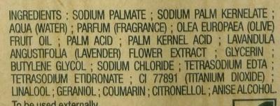 Savon extra doux Lavande - Ingrédients