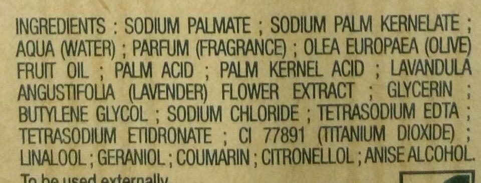 Savon extra doux Lavande - Ingredients