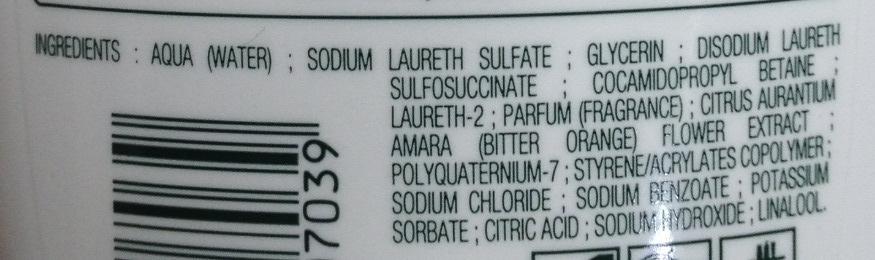 Crème douche extra douce à la fleur d'oranger - Ingredients