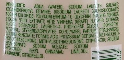 Shampooing soin aux extraits de Pêche Blanche Fleur de Vigne - Ingrédients