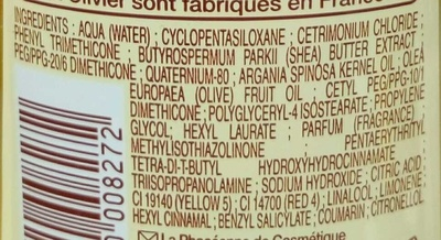 Démêlant soin sans rinçage aux huiles d'olive, karité, argan - Ingredients