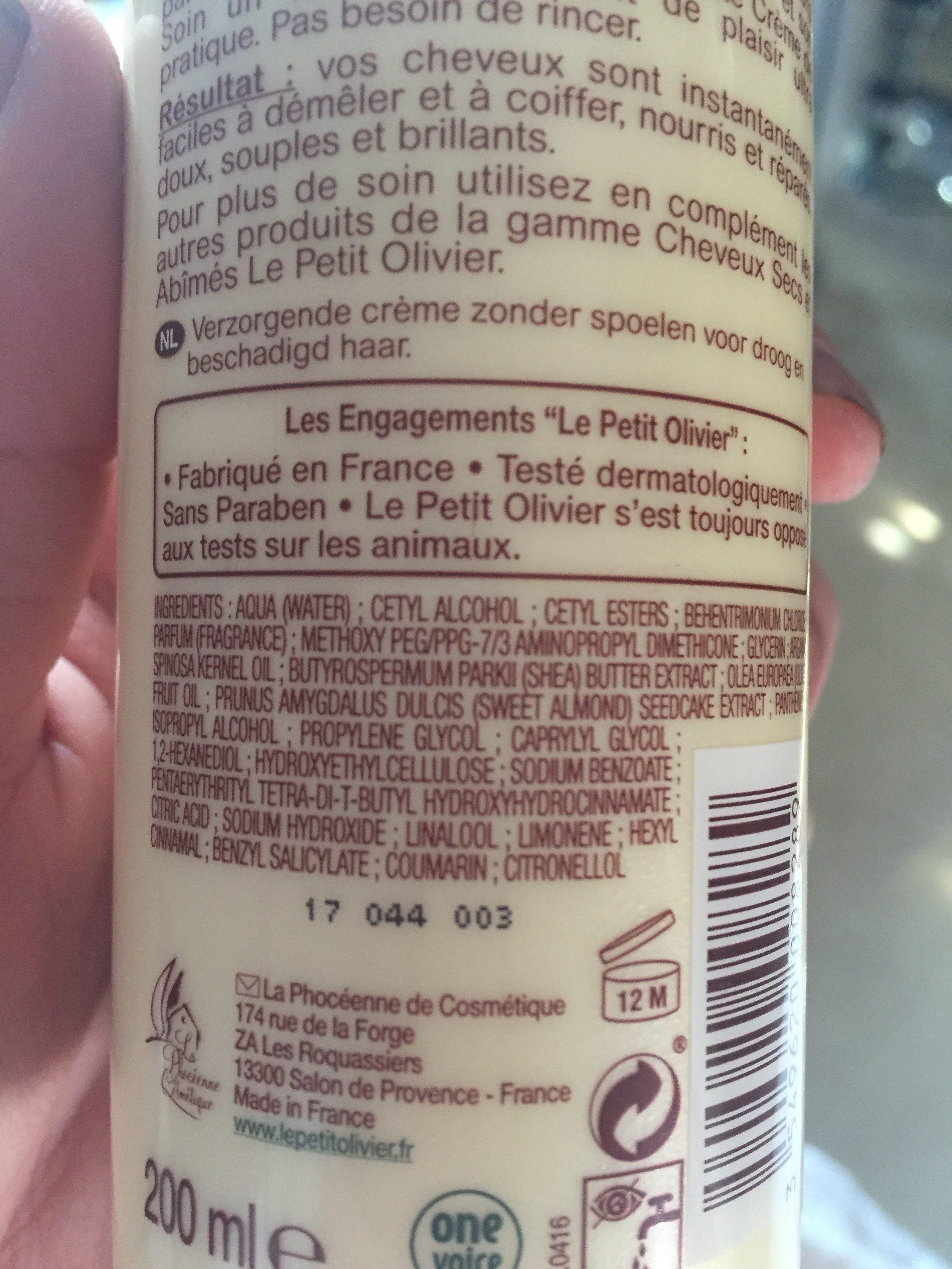 Crème De Soin Sans Rinçage Aux Huiles D'olive, Karité Argan - Cheveux Secs Et Abîmés - Ingredients