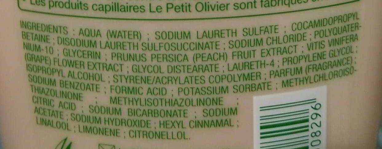 Shampooing soin aux extraits de pêche blanche fleur de vigne - Ingredients - fr