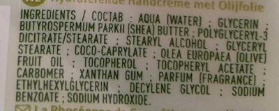 Crème mains hydratante à l'huile d'olive - Ingredients - fr